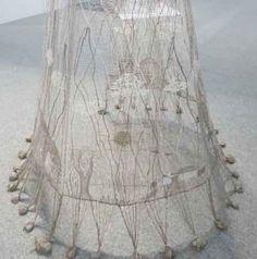 "Dana Varilova's ""Poslani"" at 6th Czech Lace Biennial (2012). Bobbin lace in linen, silk and metallic. Photo by Jane Atkinson"
