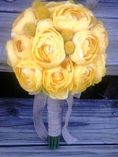 Yellow Ranunculus Bridal Bouquet Yellow by SilkFlowersByJean, $65.00
