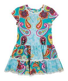 Look at this #zulilyfind! Teal & Orange Paisley Drop-Waist Dress - Toddler #zulilyfinds