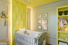 Modern Nursery. Love the pop of yellow against grey and white.