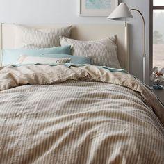 Striped Belgian Linen Duvet Cover + Shams - Pale Harbor | West Elm