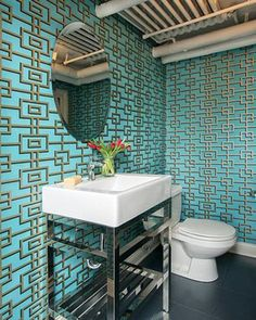 48 Best Bathroom Wallpaper Images Bathroom Guest Toilet Toilets