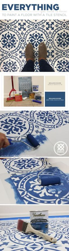 DIY stenciled and painted tile floor makeover ideas on a budget using easy and reusable tile stencil patterns from Cutting Edge Stencils Painting Tile Floors, Painted Floors, Diy Painting, Paint Tiles, Diy Tiles, Faux Painting, Mosaic Tiles, Painting Linoleum, Basement Flooring