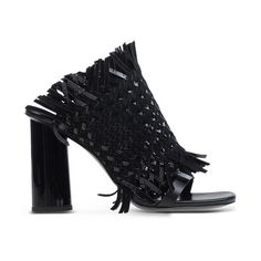 Proenza Schouler Black Fringe Mule ($995) ❤ liked on Polyvore featuring shoes, black, leather sole shoes, mule shoes, black fringe shoes, proenza schouler shoes and kohl shoes