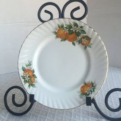 Oranges Pattern Plate/ Vintage Fine Bone China Salad Plate with Gold Trim / Florida Oranges Pattern by Elizabethan / Made in England by vintagepoetic on Etsy