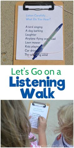Let's Go On a Listening Walk – Creative Family Fun Listen carefully, what do you hear? Go on a fun listening walk and use your ears to find everything on this printable scavenger hunt for kids. Nature Activities, Outdoor Activities For Kids, Outdoor Learning, Summer Activities, Learning Activities, Preschool Activities, Kids Learning, Outdoor Games, Backyard Games