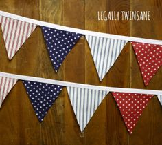 Fabric Bunting banner patriotic red white blue by LegallyTwinsane, $13.00