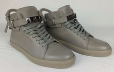 100% Authentic BUSCEMI 100 mm Leather High Top Sneakers Gray 9-9.5 / 43 NEW $890 #BUSCEMI #HighTopSneakers