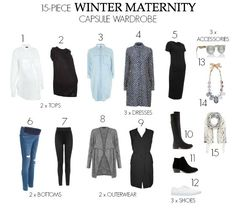 Affordable Winter Maternity Capsule Wardrobe A winter maternity wardrobe does not need to be costly or include too many items to be stylish yet still comfortable. Check out this capsule wardrobe Pregnancy Fashion Winter, Winter Maternity Outfits, Summer Maternity Fashion, Stylish Maternity, Maternity Wear, Maternity Dresses, Maternity Styles, Capsule Wardrobe 2018, Maternity Capsule Wardrobe