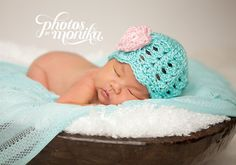 Baby Girl Hat Ready to Ship Crochet Newborn Hat by CarolinaHats