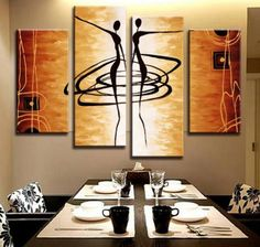 Hot 4 Pcs/Set Modern Abstract Figures Painting Printed on Canvas Dance Lover Figures Golden Wall Art