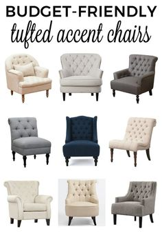 Get a list of affordable, budget-friendly, tufted accent chairs that will help make your space beautiful and cozy! Sofa Design, Küchen Design, Interior Design, Interior Decorating, Decorating Ideas, Bedroom Chair, Bedroom Furniture, Home Furniture, Furniture Design