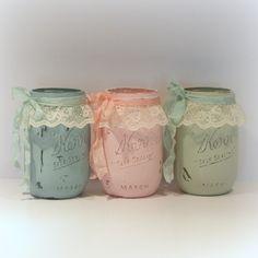 Shabby Chic Mason Jars Painted Mason Jars by uniqueboxboutique, $6.50