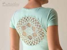 Mint green t-shirt with upcycled vintage crochet doily back: