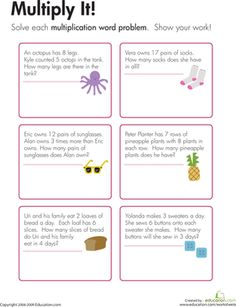 Third Grade Multiplication Worksheets: Multiplication Word Problems: Multiply It!