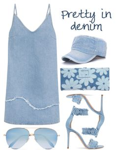 """Pretty in Denim"" by youaresofashion ❤ liked on Polyvore featuring Gianvito Rossi, Victoria Beckham, M.i.h Jeans, Roger Vivier and alldenim"
