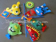 monster mobile for nursery :)