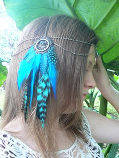 dreamcatcher feather head chain headdress head piece Turquoise dreamcatcher halo in tribal Native American boho gypsy hippie hipster style. $58.00, via Etsy.
