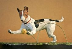 Jack Russell Terrier, Whimsical Paper Mache Dog Sculpture