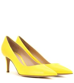 Gianvito 70 yellow patent leather pumps