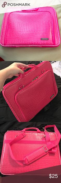 "Pink Alligator Texture Laptop Case Excellent condition! Fits up to 15"" laptop or tablet with additional zipper pocket CaseCrown Bags Laptop Bags"
