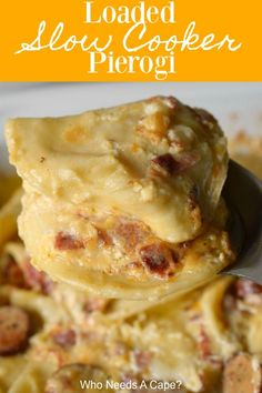 Loaded Slow Cooker Pierogi – Who Needs A Cape? Whether you serve Loaded Slow Cooker Pierogi for tailgating or holiday parties they will be a hit. Creamy, comforting & deliciously easy in your crockpot. Pierogi Casserole, Pierogi Recipe, Slow Cooker Recipes, Crockpot Recipes, Cooking Recipes, Slow Cooker Appetizers, Diner Recipes, What's Cooking, Yummy Recipes