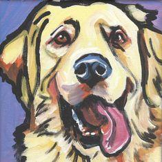 Golden Retriever art print modern Dog art print pop dog art bright colors 8x8 inch