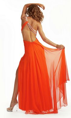 Long Open Back Sequin Front Slit Chiffon Sweetheart One Shoulder Prom Dress