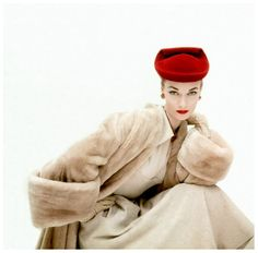 Woman in Red Balenciaga Hat, November 1951, Vogue; photo by Clifford Coffin