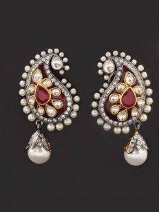 Pear Shaped Pearl Kundan Earring - Buy Pearl Kundan Earring Online