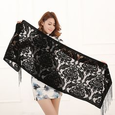 2016 New Hot 6 Colors Floral Print Velvet Scarf Winter Burnout Muslim Hijab Wrap Gift For Women Lovers Free Shipping-in Scarves from Women's Clothing & Accessories on Aliexpress.com | Alibaba Group