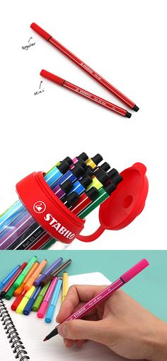 These mini pens come in a sporty curved canister that you can toss in your bag and take anywhere.