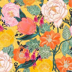 Shop the world's largest marketplace of independent surface designers - Spoonflower Floral Print Fabric, Floral Prints, Hello Kitty Tattoos, Asian Fabric, Chintz Fabric, Charm Pack Quilts, Hello Kitty Birthday, Hello Kitty Wallpaper, Sketchbook Inspiration