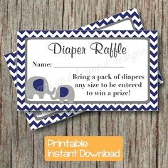 Diaper Raffle Tickets Baby Shower Party Supplies Navy Blue Grey Chevron Elephant by BumpAndBeyondDesigns, $4.00