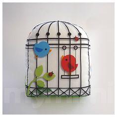 Decorative Pillow, Mini Pillow, Throw Pillow, Kawaii Toy Pillow - Little Birdcage