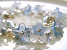 Baby Blue Lucite Flowers Bracelet  Lucite Flowers by Oogle on Etsy