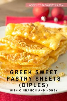 How to make delicious and crunchy Traditional Fried Greek Pastry with Honey and Nuts (Diples) step by step. Greek Sweets, Greek Desserts, Greek Recipes, Just Desserts, Pastry Recipes, Baking Recipes, Appetizer Recipes, Dessert Recipes, Cypriot Food