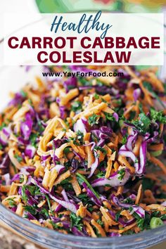 Healthy Carrot Cabbage Coleslaw - Looking for a healthy twist on a classic side dish? Try this crunchy carrot cabbage coleslaw recipe. The perfect topping for your next sandwich. Easy Vegetable Side Dishes, Best Side Dishes, Vegetable Sides, Side Dish Recipes, Vegetable Recipes, Coleslaw Recipe Easy, Healthy Coleslaw, Homemade Coleslaw, Coleslaw Recipes