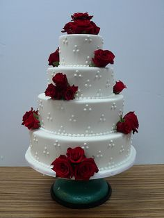 Red Roses White Wedding Cake by CAKE Amsterdam - Cakes by ZOBOT, via Flickr