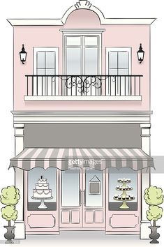 A bakery store front. Idea: If u have a second floor viable for business, then install French windows on it and convert to… Patisserie Design, Bakery Design, Cafe Design, Flat Design, Store Design, Store Front Design, Boutique Patisserie, Decoration Patisserie, Design Design