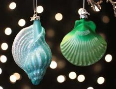 <p> Shell Ornament, by Seasons of Cannon Falls. Sold individually from the 2 different designs shown. Choose the Aqua Spiral Shell on the Left, or the Green Scallop Shell on the Right. Part of the Glassworks Collection. Measures approx 3 x 1.5 x 4 inches. Made of glass.</p>