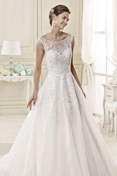 Generous A-line Bateau Illusion Neck Beading&Sequins Lace Sweep/Brush Train Tulle Wedding Dresses