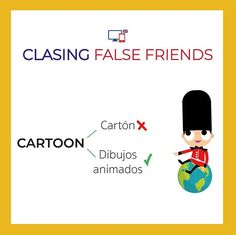 False Friends by CLASINGELTS.com False Friends, English Tips, Vocabulary, Conversation, Spanish, Words, Simple, Fake Friends Status, Study Tips