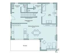 Haus 126 - TALBAU-Haus - Da bin ich daheim. Floor Plans, Model, Blog, Inspiration, Patio, Open Entryway, Attic Rooms, House Construction Plan, Detached House