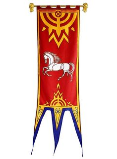 Lord of the Rings Rohan Banner red - personal banner Medieval Banner, Medieval Party, Tolkien, Larp, Middle Earth Books, Horse Logo, Book Images, Fantasy, Lord Of The Rings