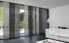 The Panel Blind fabric collection features 156 materials in 19 different weaves. Aluminum hardware available in Silver and White as well as a Brushed finish. Panel Blinds, Fabric Blinds, Blinds For Windows, Panel Curtains, Window Blinds, Japanese Blinds, Japanese Wall, Room Divider Curtain, Solar Shades