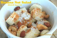 Whole 30 SNACK: Banana Nut Salad: bananas, nuts, cinnamon, and coconut flakes! Delicious AND healthy! Whole 30 Snacks, Whole 30 Recipes, Whole Food Recipes, Healthy Sweets, Healthy Snacks, Healthy Recipes, Fast Recipes, Clean Eating Recipes, Cooking Recipes