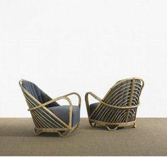 Arne Jacobsen rattan & cane Charlottenborg Lounge Chairs, Nissen & Co, 1936