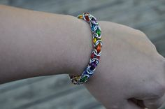 Rainbow Colors Chainmaille Bracelet by Chained2You on Etsy