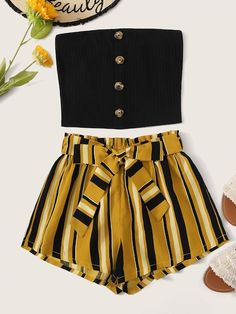 Shop Button Front Rib-knit Tube Top & Paperbag Waist Belted Shorts Set at ROMWE, discover more fashion styles online. Cute Comfy Outfits, Cute Girl Outfits, Cute Summer Outfits, Pretty Outfits, Stylish Outfits, Summer Shorts, Cute Outfits With Shorts, Skirt Outfits, Classy Outfits